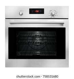 Single Wall Oven Isolated on White Background. Domestic Appliances. Front View of Stainless Steel Built-in Electric Stove with a Large-Capacity Warming Drawer. Kitchen Appliances