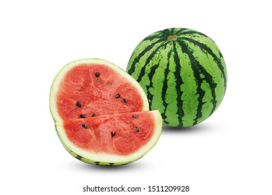 Single watermelon and sliced watermelon isolate on white background