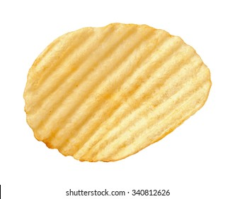 A single wavy potato chip with ridges, sometimes called ruffles, isolated on a white background. A salty snack associated with parties, and watching sporting events.