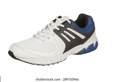 single white and blue shoe for men on a white background, single sneaker