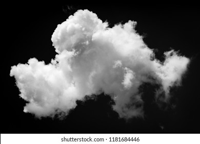 Single white cloud isolated on black background and texture. Brush cloud black background.