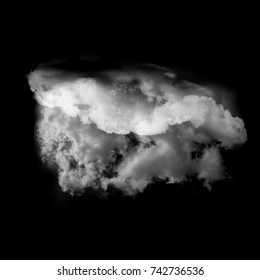 Single white cloud isolated over black background, realistic cloud 3D illustration. Cloud shape rendering