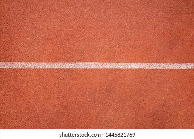 Single white line in running court athlete stadium top view texture