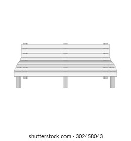 Single white modern Bench. Illustration