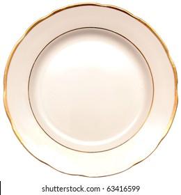 single white plate isolated on white background
