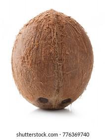 single whole coconut isolated on white background