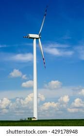 Single wind turbine in the field in Lublin region Poland