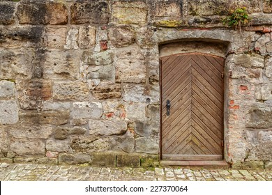 Single Wooden Door in Old City Wall