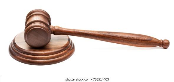 single wooden judge gavel isolated on white background