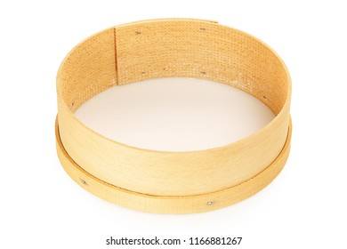 single wooden sieve isolated on white