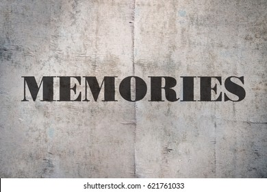Single word Memories written on old wooden background