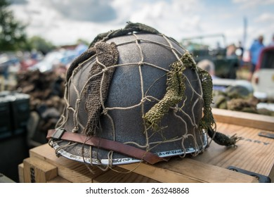 Single WWII helmet.