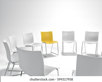 Single yellow chair in a circle of white ones in a concept of individualism, leadership and standing out from the crowd with copy space above. 3d rendering.