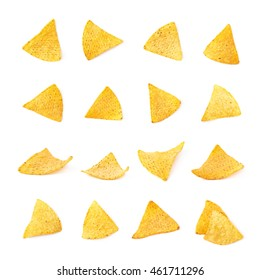 Single yellow corn tortilla chip isolated over the white background, set of multiple different foreshortenings