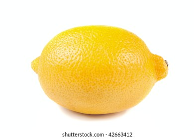 single yellow lemon isolated over the white background