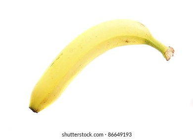 A single yellow loan banana isolated on a white background