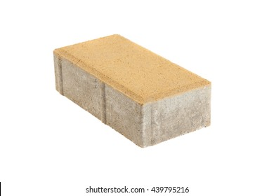 Single yellow pavement brick, isolated. Concrete block for paving