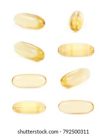 Single yellow softgel pill isolated over the white background, set of eight different foreshortenings
