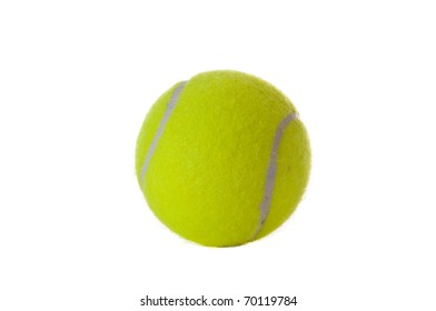A single yellow tennis ball isolated over white.