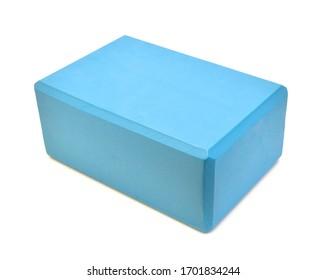 Single yoga block isolated on a white background - Image