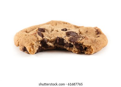Singled chocolate chip cookie with bite taken out of it on white isolated background