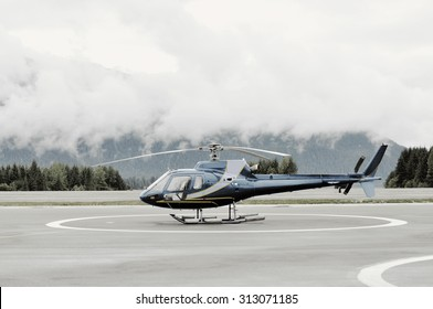 Single-engine Helicopter on platform before launch