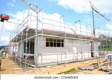 Single-family house under construction in Münsterland, Westphalia, Germany, 06-11-2020