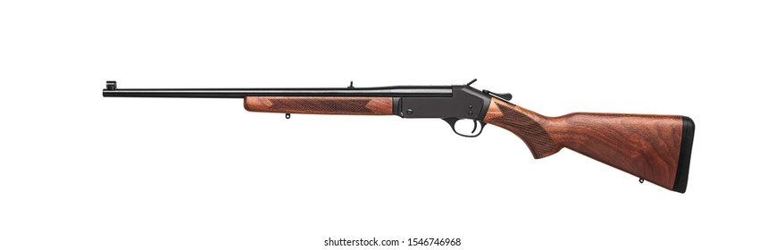 Singleshot rifle with wooden butt  isolated on white background.