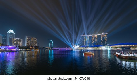 Singpore-Dec 17: Beautiful lightshow at the marina bay waterfront on December 17,2016.