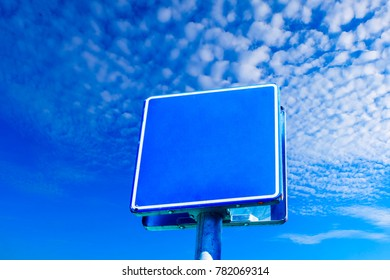 Sings  on the sky background.Clean blank road sign on the sky.