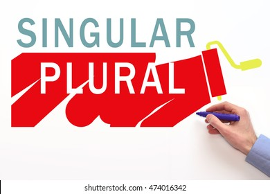 Singular and plural sign on white background. Opposites