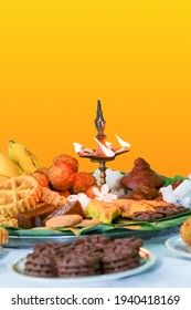 Sinhala Tamil New Year Traditional Foods with Oil lamp.