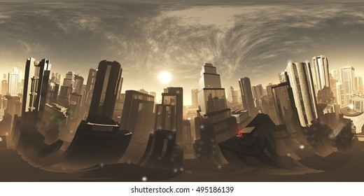 Sinister Mood Armageddon City VR 360 3D Illustration