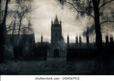 A sinister old Victorian building with tower on a winters day. With a gothic, aged grunge edit.