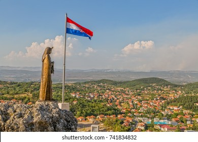 SINJ, CROATIA - August 4, 2017 Our Lady of Sinj statue watching over town and famous pilgrimage site, Croatia Europe.
