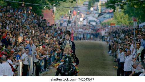 SINJ, CROATIA - August 6, 2017 Alkar Alen Poljak winner of the 302 Alka game hits the highest number of points. Alka knight game is the UNESCO intangible cultural heritage.