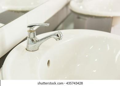 Sink in bathroom.Interior bathroom accessory.