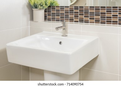 sink and faucet in bathroom interior design concept