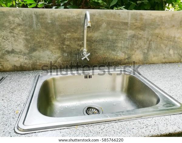 Sink Faucet Outdoor Kitchen Backyard Garden Stock Photo ...