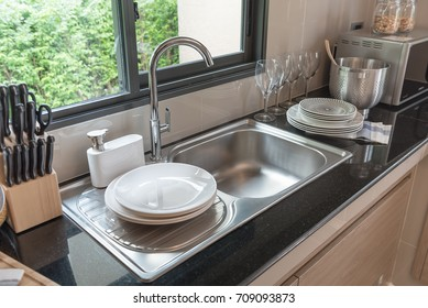 sink in kitchen room, modern counter with sink in kitchen room, interior design concept