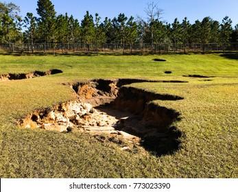 Sinkhole In Retention Pond