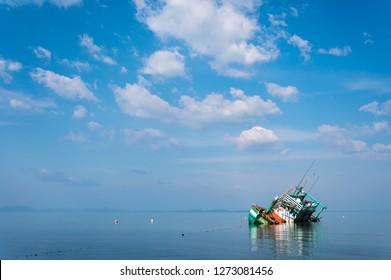 Sinking fisherman boat