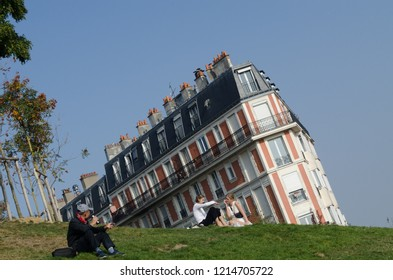 Sinking House, Montmartre, 19.10.2018 Unique experience to see result of photography taken this angle, actually  looking like a sinking house.