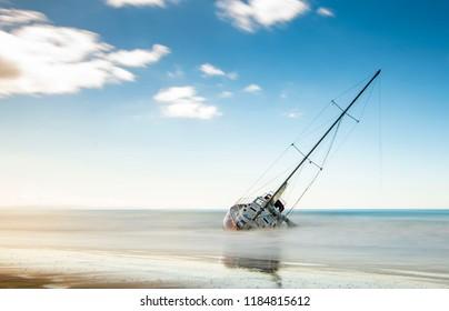 Sinking Ship at a Beach
