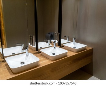 Sinks with Mirrors in Public Restroom
