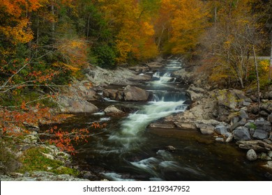 The Sinks portion of Little River in Smoky Mountains National Park in Fall colors
