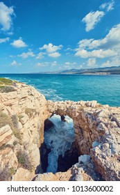 Sinners bridge on the Cyprus island. Mediterranean Sea landscape