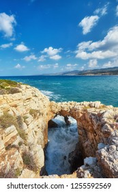 Sinners bridge on the Cyprus island. Mediterranean Sea landscape