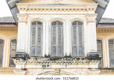Sino-Portuguese architecture of ancient building in Phuket town, Thailand.
