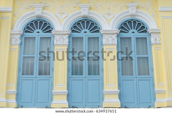 sino-Portuguese architecture style windows on old building at talang road, Phuket. Thaialnd.